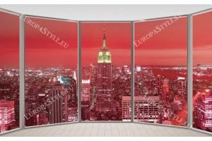 Фототапети прозорец Манхатън в червено