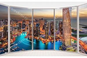 Фототапети красив изглед през прозорец на нощен Дубай в 2 цвята