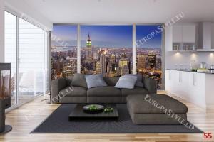 Фототапети френски прозорец с Ню Йорк