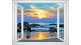 Фототапети прозорец с изглед морски залез - 3 цвята