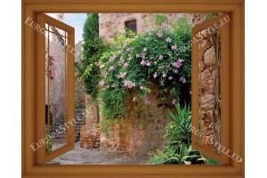 Фототапети прозорец с изглед към старинна къща с цветя - 3 цвята