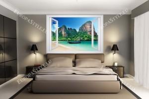 Фототапети тропически бряг със скали и лодка прозорец - 3 цвята