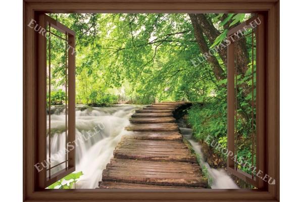 Фототапет прозорец пътека край река - 3 цвята