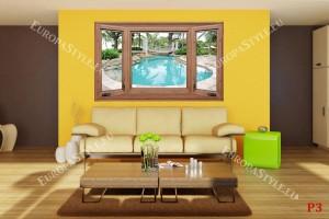 Фототапети дървен прозорец с изглед на басейн