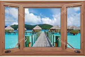 Фототапети дървен прозорец с изглед от Малдиви