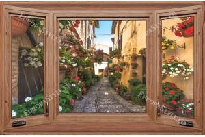 Фототапети дървен прозорец с изглед улица в Тоскана