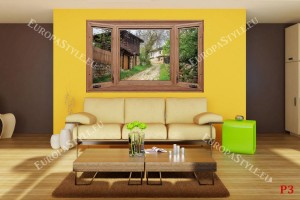 Фототапети дървен прозорец с изглед на автентични стари къщи