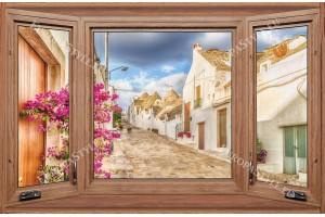 Фототапети дървен прозорец средиземноморска улица