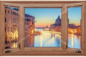 Фототапети дървен прозорец с изглед нощна Венеция