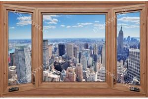 Фототапети дървен прозорец с изглед от Ню Йорк