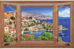Фототапети дървен прозорец с изглед на средиземноморски град