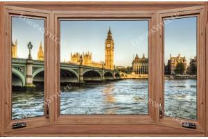 Фототапети дървен прозорец с изглед от Лондон