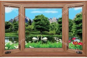 Фототапети дървен прозорец с изглед на езеро с лебеди
