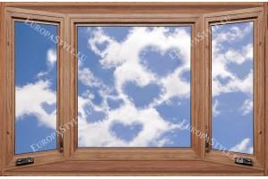 Фототапети дървен прозорец с изглед облаци-сърца