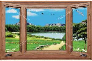 Фототапети дървен прозорец с изглед на езеро и пътека