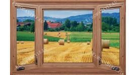 Фототапет-30% размер 200 см-130 см прозорец нива