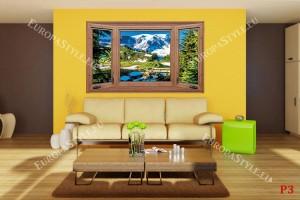 Фототапети дървен прозорец с изглед на зимна планина и гора