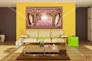 Фототапети дървен прозорец с изглед розови дървета