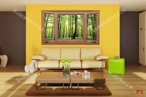 Фототапети дървен прозорец с изглед зелена гора
