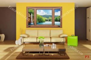 Фототапети дървен прозорец с изглед екзотичен водопад