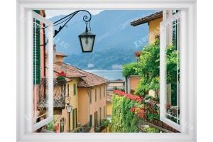 Фототапет прозорец гледка средиземноморска улица - 3 цвята