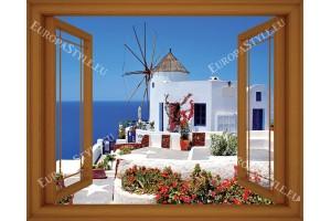 Фототапет изглед на Санторини и мелница прозорец - 3 цвята