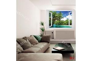 Прозорец 3 цвята гледка с палми и река