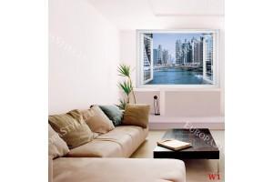 Фототапет  панорамен изглед прозорец Дубай слънчев