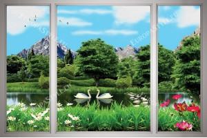 Фототапет прозорец 3д ефект с изглед на езеро и лебеди