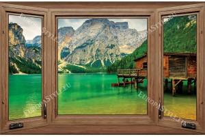 Фототапет дървен прозорец с изглед езеро с дървена къща