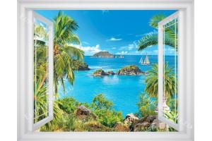 прозорец в 3 цвята дограма морски изглед с лодка