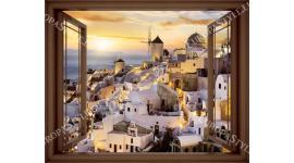 прозорец в 3 цвята дограма изглед Санторини залез