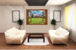 Фототапет изглед планинска хижа прозорец - 3 цвята