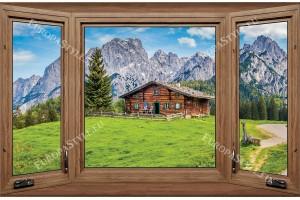 прозорец дървена дограма изглед планинска хижа
