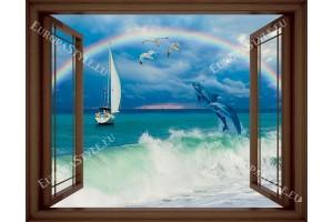 малък прозорец с морски изглед с делфини в 3 цвята