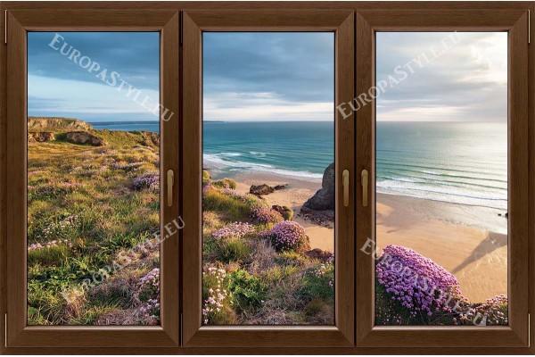 прозорец 3 крила с гледка на морски бряг с цветя