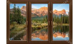 прозорец 3 крила с гледка планина огледален образ