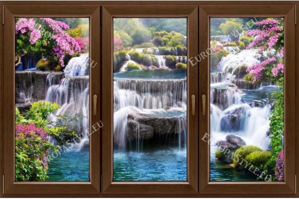 прозорец 3 крила с гледка водопад с цветя