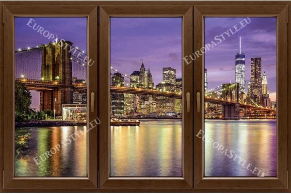 прозорец 3 крила с нощна гледка моста на Бруклин