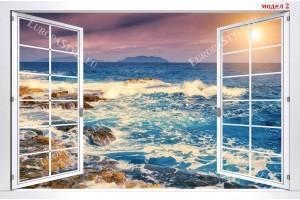 Фототапети бял прозорец с морски залез в синьо 3 модела
