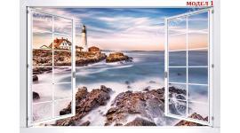 Фототапети бял прозорец с пейзажи морски залез и фар