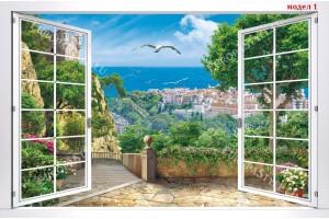 Фототапети бял прозорец с морски градски пейзаж 4 модела