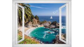 Фототапети прекрасен морски пейзаж с ефект на прозорец 3 цвята