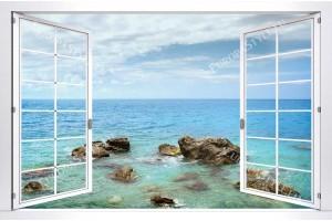 Фототапети изглед морска панорама хоризонт бял прозорец