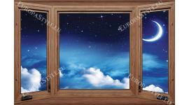 Фототапети имитация на дървен прозорец с гледка космос 2 модела