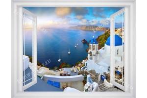 Фототапет морска панорама изгрев от Санторини прозорец в 3 цвята