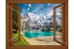 Фототапет прозорец гледка с планина и езеро в 3 цвята дограма