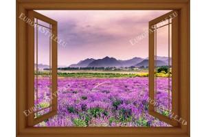 Фототапет имитация прозорец на полски пейзаж с лавандула 3 цвята дограма