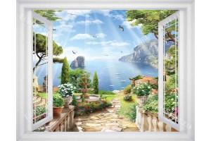 Фототапет гледка през прозорец на прекрасен морски залив и градина в 3 цвята