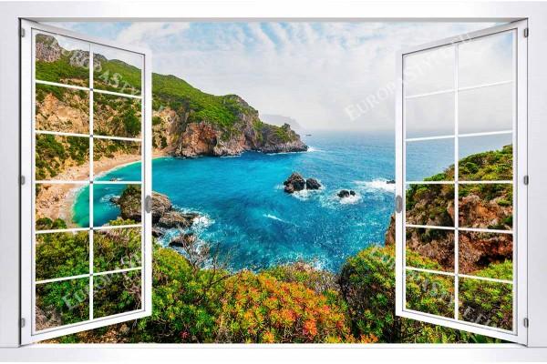 Фототапет уникално красив морски залив от гръцки остров прозорец